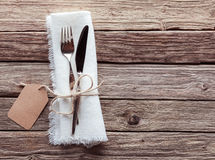 Rustic Table Setting with Blank Tag on Wood Table Stock Images