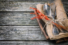 Rustic table setting. In brown tone Royalty Free Stock Photo
