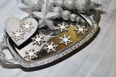 Rustic table setting for Christmas eve - Christmas time Royalty Free Stock Images