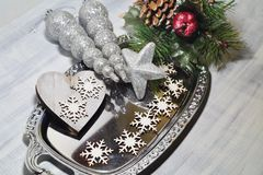 Rustic table setting for Christmas eve - Christmas time Stock Photography