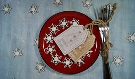 Rustic table setting for Christmas eve - Christmas time Stock Photos