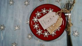 Rustic table setting for Christmas eve - Christmas time Royalty Free Stock Photography