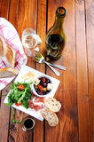 Rustic table setting with food Royalty Free Stock Photography