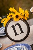 Rustic table setting with lettered plate. Beautiful rustic table setting with the letter N incorporated Royalty Free Stock Images