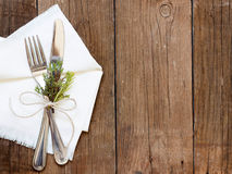 Rustic Table setting on old wooden table Royalty Free Stock Photography