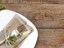 Rustic Table setting on old wooden table Stock Image