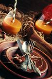 Rustic table setting for Thanksgiving Day: pottery, vintage appl stock photos