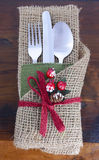 Rustic Thanksgiving burlap wrapped place setting. Stock Images