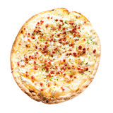 Rustic Thin Crust Pizza on White Background Stock Images