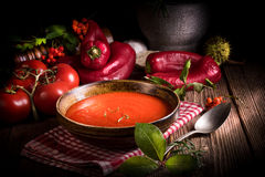 Rustic tomato soup Stock Photos