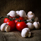 Rustic tomatoes and mushrooms. Royalty Free Stock Photos