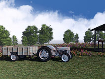 Rustic tractor at a farm 3d Art. Royalty Free Stock Photo