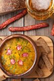 Rustic traditional beer soup with dill croutons Stock Photo