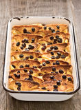 Rustic traditional british bread and butter pudding Stock Images