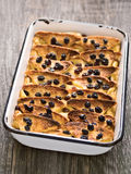 Rustic traditional british bread and butter pudding Stock Photography