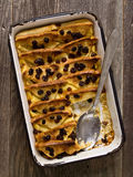 Rustic traditional british bread and butter pudding Stock Photo