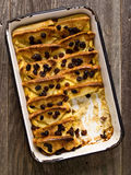 Rustic traditional british bread and butter pudding Royalty Free Stock Image