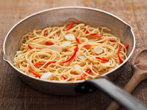 Rustic traditional italian aglio olio spaghetti pasta Stock Photo