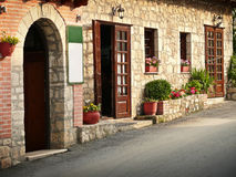 Rustic, traditional, mediterranean tavern entrance. In greece royalty free stock photography