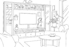 Rustic TV Room Sketch and Outline Vector Illustration. For any purpose such as architecture and interior book, magazine, website, blog, etc vector illustration