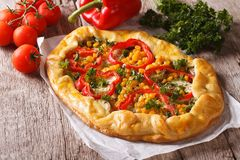 Rustic vegetable pie close-up and ingredients. horizontal Royalty Free Stock Photos