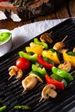 Rustic vegetable shashlik with green asparagus and paprika Royalty Free Stock Images