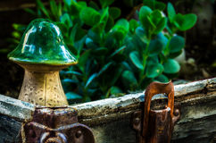 Rustic View. This is a shot of a ceramic Mushroom in an old rustic chest that was turned into a mini garden Stock Images