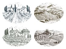 Rustic vineyard. rural landscape with houses. solar tuscany background. fields and cypress trees. harvesting and. Haystacks. engraved hand drawn in old sketch Stock Photo