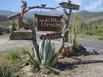 Rustic vineyard sign in Tenerife Stock Images