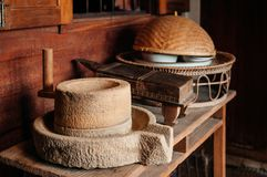 Rustic vintage antique millstone grinder in Thai style kitchen d. Old Rustic vintage antique millstone grinder in Thai style kitchen decoration for Thai style royalty free stock photos