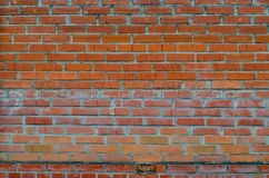 Rustic vintage bakcground of red brick wall. Cladding with cement seams stock photo