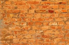 Rustic vintage bakcground of red brick wall. Cladding with cement seams royalty free stock photos