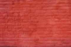 Rustic vintage bakcground of red brick wall. Cladding with cement seams stock photography
