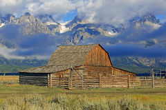 Rustic vintage barn in Wyoming. Royalty Free Stock Photo