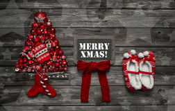 Rustic vintage wooden christmas background for a greeting card w Stock Photos