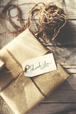 Rustic Vintage Wrapped Present Thankyou Message Concept. Rustic Vintage Wrapped Present Thank you Message stock photography