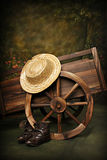 Rustic Wagon. Old fashioned Rustic Garden Wagon royalty free stock photo