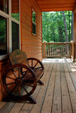 Rustic Wagon Wheel Bench Stock Image