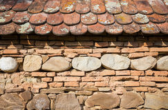 Rustic wall with layers of different comstruction materials Royalty Free Stock Photography