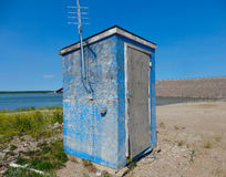 A rustic weather station in the northwest territories Stock Images