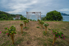 Rustic wedding aisle. With sea and sky view background stock photo