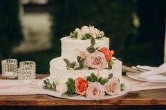 Rustic wedding cake on wedding banquet stock photo