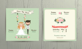 Rustic wedding cartoon bride and groom couple invitation card Stock Photo