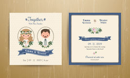 Rustic wedding cartoon bride and groom couple invitation card Royalty Free Stock Image