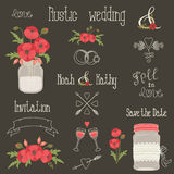 Rustic wedding design elements with poppy flowers Royalty Free Stock Images
