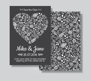 Rustic wedding invitation card set. White florals in heart shape on black chalkboard background. Save the date and invitation card royalty free illustration