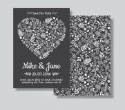 Rustic wedding invitation card set. Stock Photo
