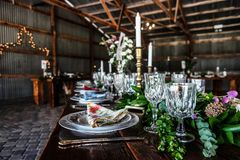 Wedding reception in an Illinois barn royalty free stock photo