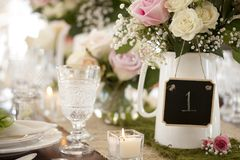 Rustic wedding, reception or special occasion dining place setting. Rustic wedding dining place setting with table holder Royalty Free Stock Images