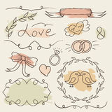 Rustic wedding set. Vector hand drawn elements. Romantic sketch frames with colorful splash background. Stock Image